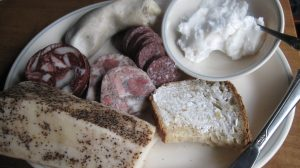 Mangalitsa pork sausages, cured lardo, and whipped lard.